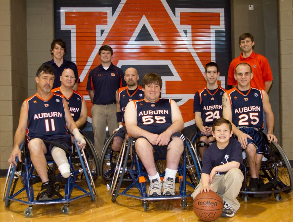 70c6f082195d Hand-me-down uniforms were worn in season two for the wheelchair basketball  program. (image via Auburn Adaptive Sports)