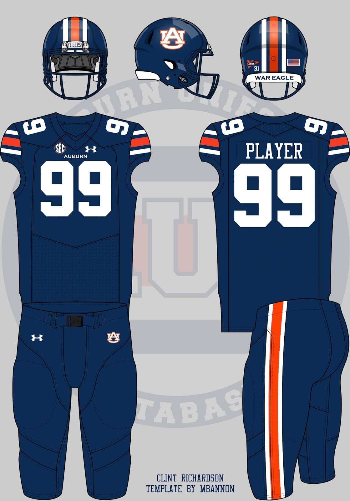 8275b7592cd auburn football uniform concepts under armour blue helmet pants all blue