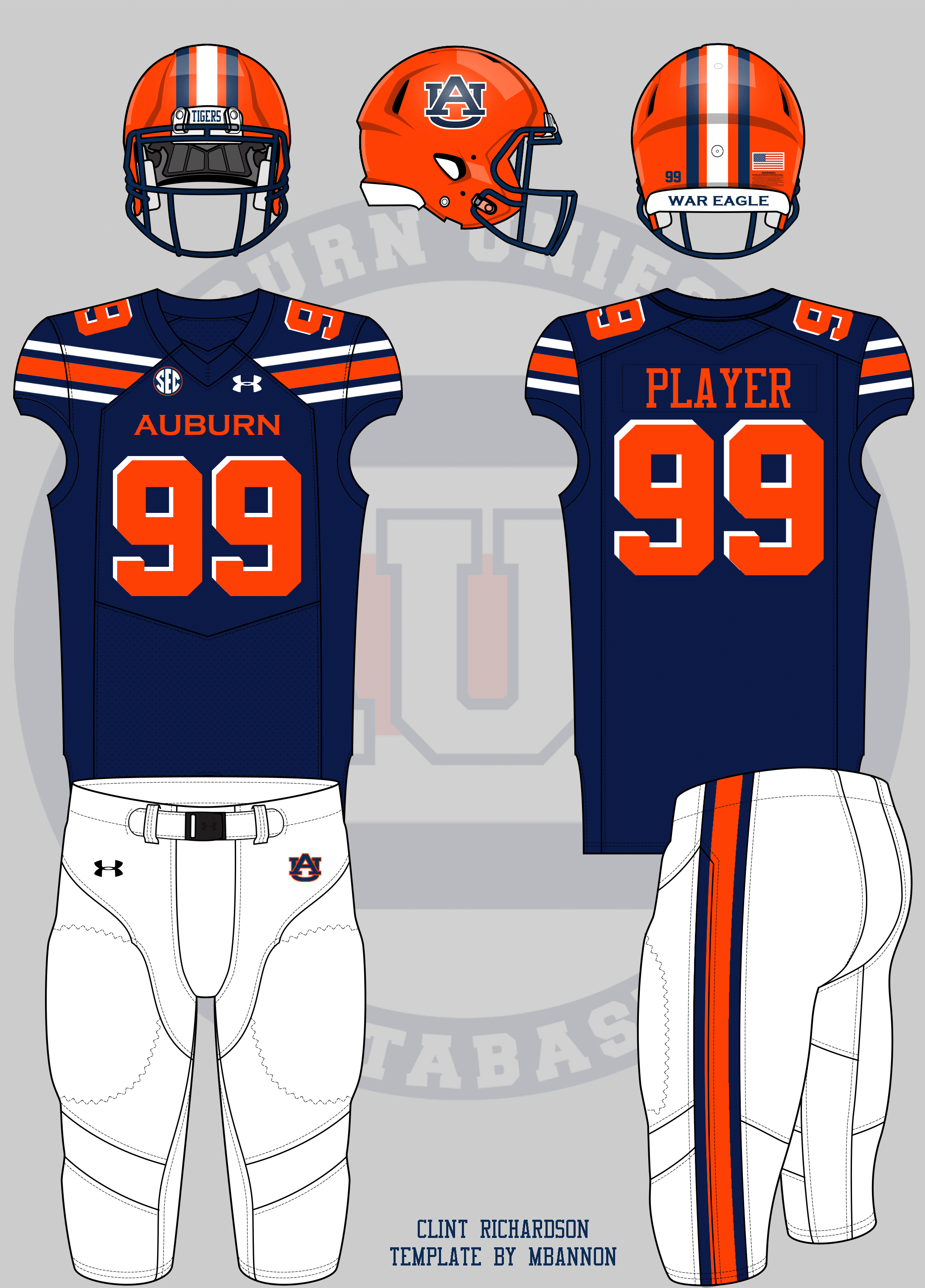 a1b1f49a5ae3c I left the pants as normal this time around. Auburn gets an orange helmet  and orange numbers with a white reverse dropshadow.