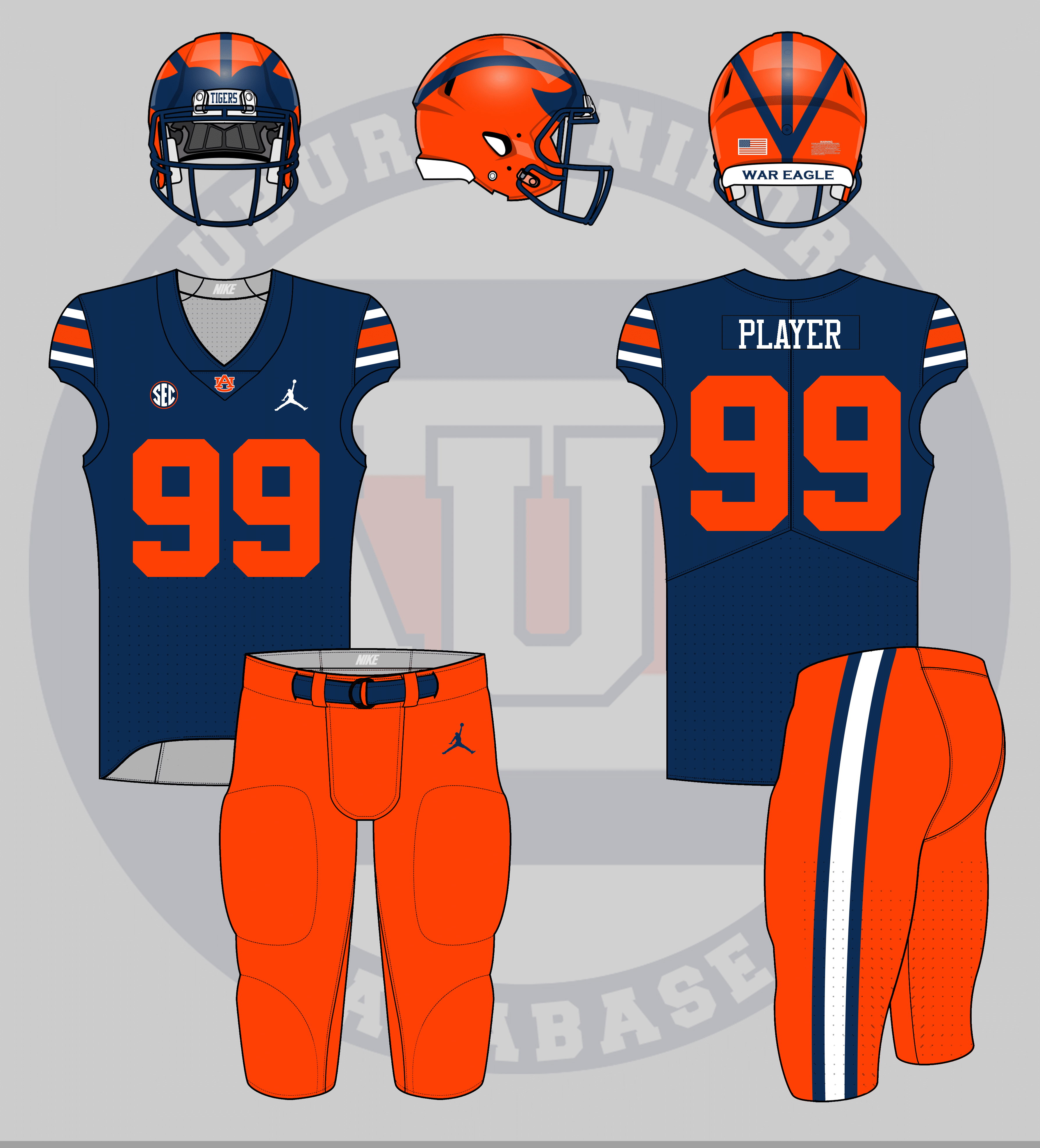 78a0781a1bd I tried to mimic Michigan's uniforms with an Auburn twist. While Michigan  uses a dark helmet shell color with bright stripes, Auburn's are reversed.