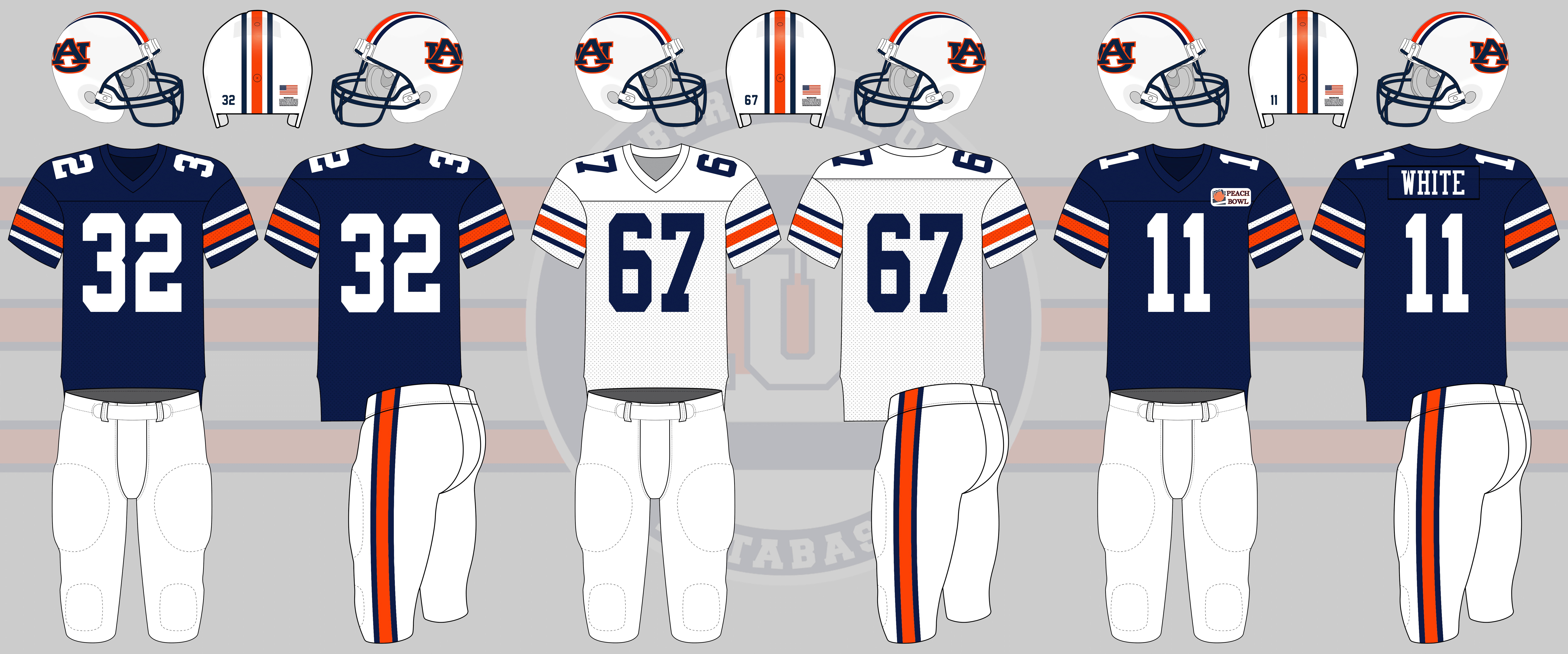422ebad01a21 Nameplates were worn for the Peach Bowl. The bowl patch was also worn on  the chest for the first time